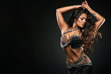 Portrait of beautiful woman, traditional ballydance dancer. Ethnic dance. Bel...