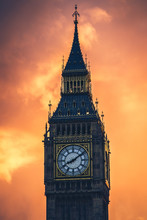 The Famous Big Ben Clock Tower At Sunset