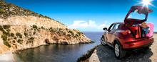 Summer Car On Road And Sea Lan...