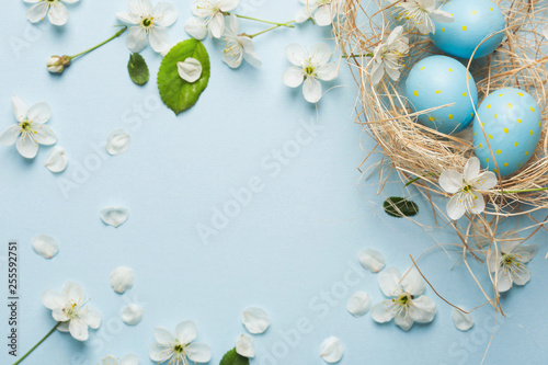 Canvas Prints Countryside painted blue Easter eggs in the nest on the background of cherry blossoms