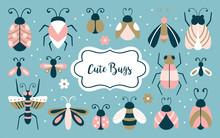Cute Bugs And Beetles Set.