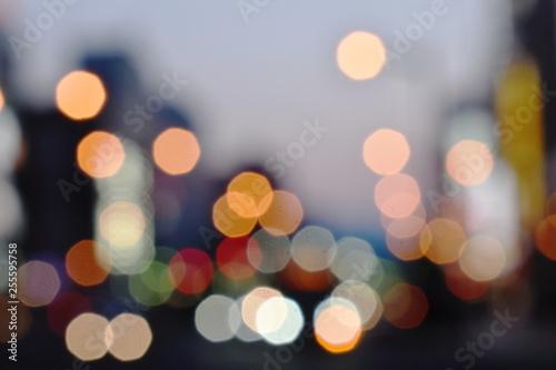 Fotografiet  blurry of car light on street in Hokkaido Japan
