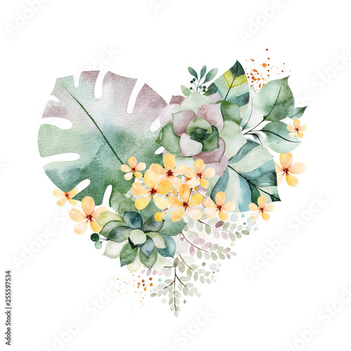 Watercolor Green illustration.1 arrangement with succulents,palm leaves,branches,yellow flowers and more.Perfect for wedding,quotes,Birthday and invitation cards,print,blog,bridal cards,Valentines day