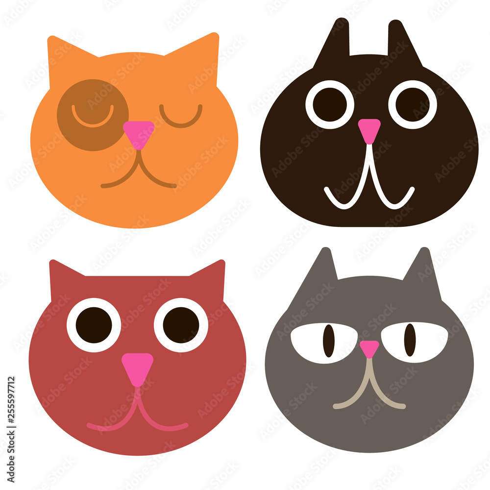 śmieszny kot stawia czoło prostej sztuki geometryczną ilustrację <span>plik: #255597712 | autor: lkeskinen</span>