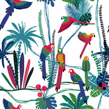 Seamless Pattern With Parrots In The Jungle.