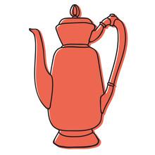 Old Asian Tea Pot Hand Drawn Illustration