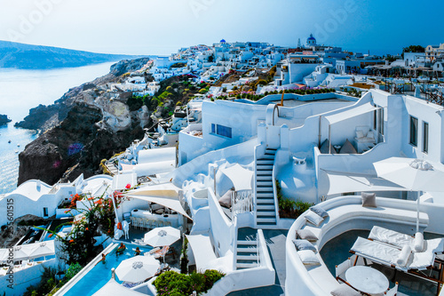 Poster de jardin Santorini Santorini colorful town Oia with blue white Caldera