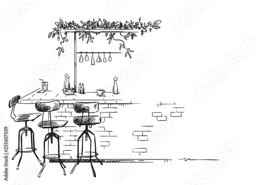 bar interior sketch, bar stand vector drawing Tableau sur Toile