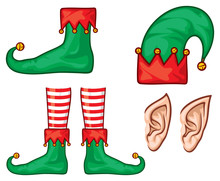 Christmas Elf Hat, Shoes (legs) And Ears