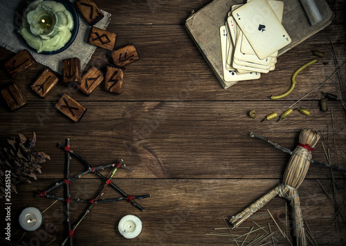 Obraz na plátně Rural still life with elements of pagan magic