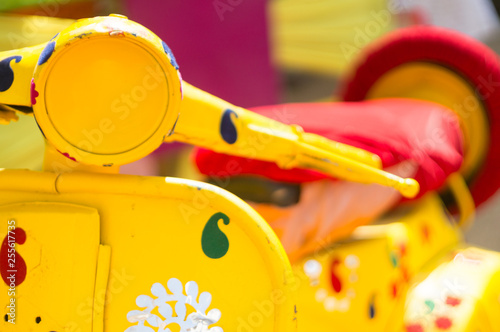 Scooter Yellow motor scooter moped painted with petals decoration item for marriage, event, celebration