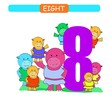 Eight. Collection number for kindergarten and preschool. Learn number 8. Hippopotamus.