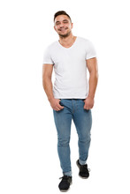 Man Full Body Portrait Isolated Over White Background, Boy In T Shirt And Jeans, Hands In Pockets
