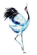Crane. Watercolor Hand Drawn  ...