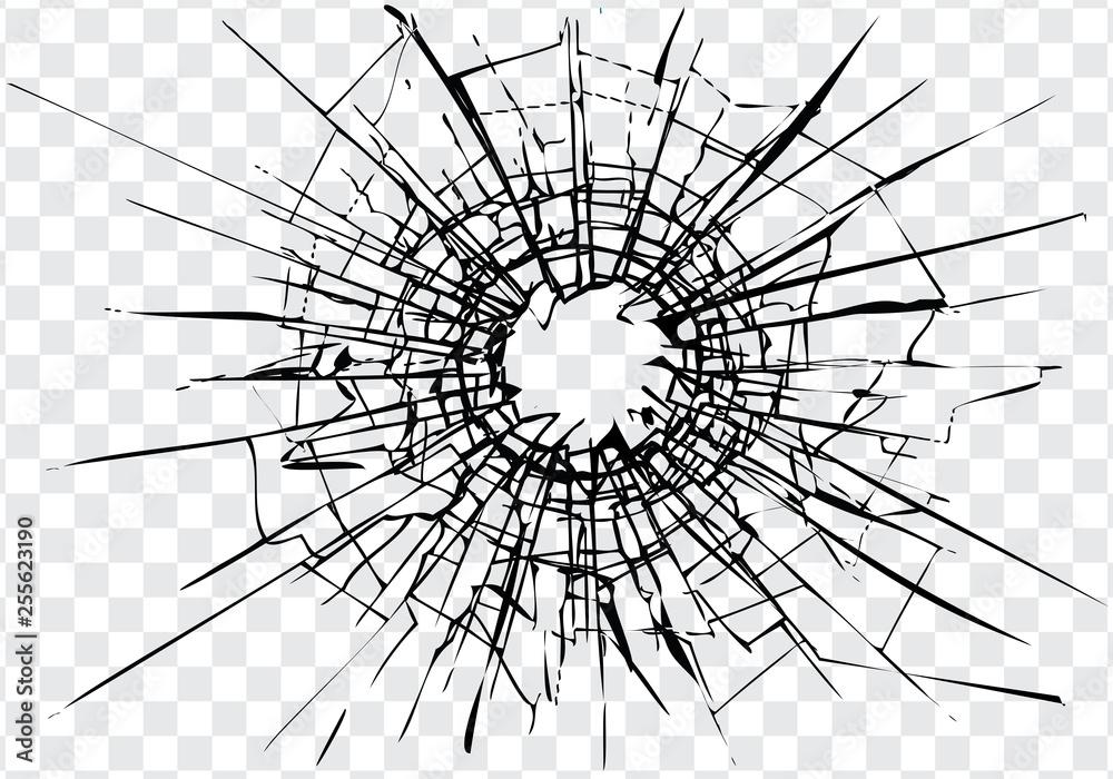 Fototapeta Broken glass, cracks, bullet marks on glass. High resolution