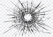 Broken Glass, Cracks, Bullet Marks On Glass. High Resolution. Texture Glass With Black Hole. You Can Easy Change Colors Or Sizes.