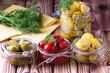 Jars of fermented vegetables.