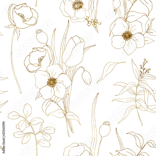 Papel de parede Vector anemone seamless pattern