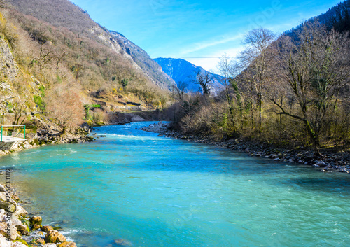 Foto auf AluDibond Pool Beautiful mountain river with turquoise color water flowing down the gorge