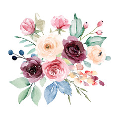 Fototapeta Do sypialni Watercolor flowers bouquet. Pink, burgundy and yellow peonies. Floral summer arrangement for printing invitations, greeting cards, wall art, stickers and other. Isolated on white. Hand painting.