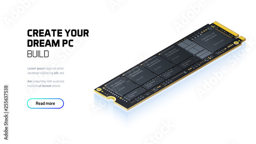 NVME Express M.2 memory realistic 3d isometric illustration, personal computer hardware components, custom gaming and workstation accessories, pc store and service