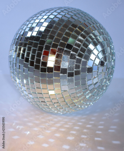 mirror ball.isolated on a dark background. photo with copy space - 255639190