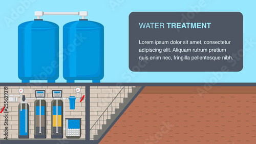 Fotografía Water Treatment System Web Banner with Text Space