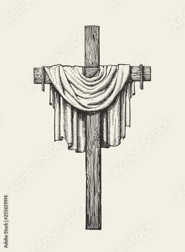 Fotografía Crucifix, cross and shroud hand drawn