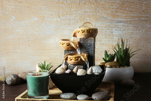 Recess Fitting Zen Portable indoor fountain for good Feng Shui in home or office. Small indoor tabletop fountain with water flowing. Spiritual mind and soul balance concept. Green plants in flower pot on background.