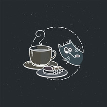 Vector Card With Cute Cat With Cup And A Sandwich.