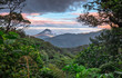 canvas print picture - Volcan Arenal dominates the landscape during sunset, as seen from the Monteverde area, Costa Rica.