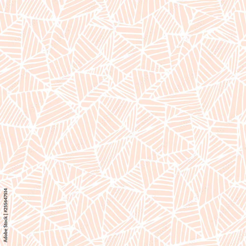 Cute pastel pink on white linear doodle triangle seamless pattern. Hand drawn stripped triangular background. Infinity geometrical wallpaper, wrapping paper, fabric, textile. Vector illustration.