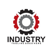 Industrial Logo Design Vector Template With Gear Icon