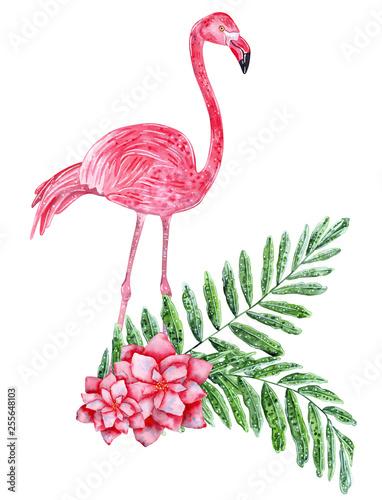 Tropikalny kolaż z liśćmi, kwiatami i różowym flamingiem. Ręcznie rysowane akwarela ilustracja.