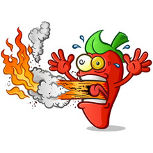 Hot Pepper Cartoon Erupting Fire Out His Mouth
