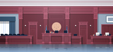Empty Courtroom With Judge And Secretary Workplace Jury Box Seats Modern Courthouse Interior Justice And Jurisprudence Concept Horizontal
