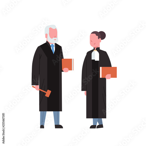 judge woman man couple court workers in judicial robe holding book and hummer lo Poster Mural XXL