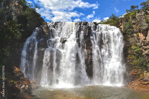 Beautiful huge Brazilian waterfall cerrado