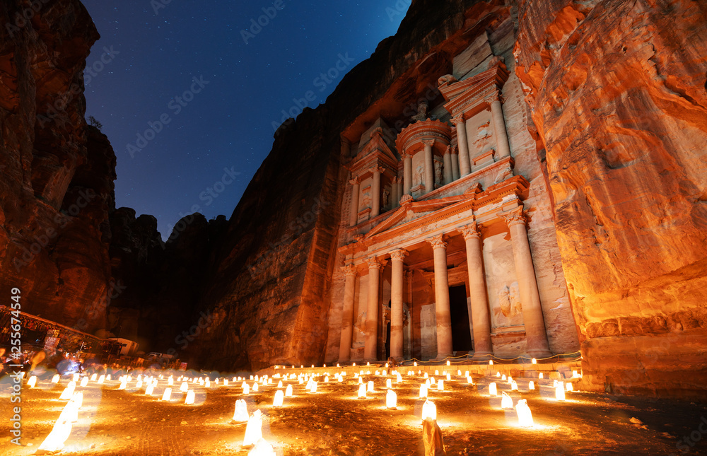 Fototapety, obrazy: Petra by night, ancient architecture in canyon, Petra in Jordan. The rose city at night, famous travel destination in Middle-East, Jordan