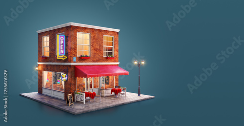 Vászonkép  Unusual 3d illustration of a cozy cafe