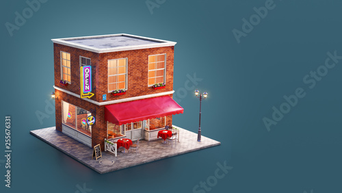 Unusual 3d illustration of a cozy cafe Wallpaper Mural