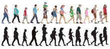 Set Of Walking People (crowd) ...