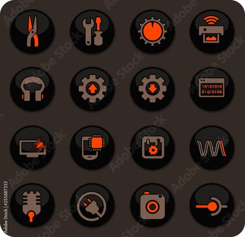 Photo  Electronics repair icons set
