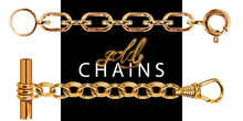 Set Of Realistic Vector Golden Chains With Clasp. Vector Illustration Of Gold Links Isolated On White Background