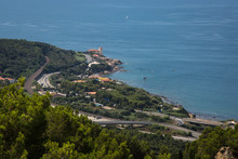 Aerial View Of Boccale Castle With The Vegetation, The Sea And The Roads Nearby In Livorno; Italy