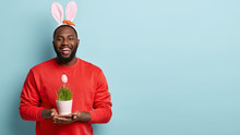 Ethnicity, Spring Holiday Concept. Satisfied Black Man Carries Vase With Decorative Green Grass And Painted Egg, Wears Bunny Ears, Happy To Celebrate Easter, Models Over Blue Wall With Free Space