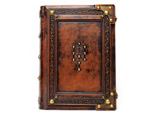 Aged Brown Leather Bound Book With Embossed The Tree Of Life To The Front Cover