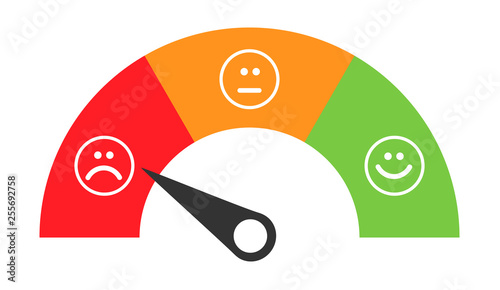 Customer icon emotions satisfaction meter with different symbol on background Fototapeta