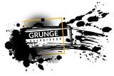 Fototapeta Młodzieżowe - Grunge ink background. Black inked splatter dirt stain splattered spray splash with drops vector abstract texture