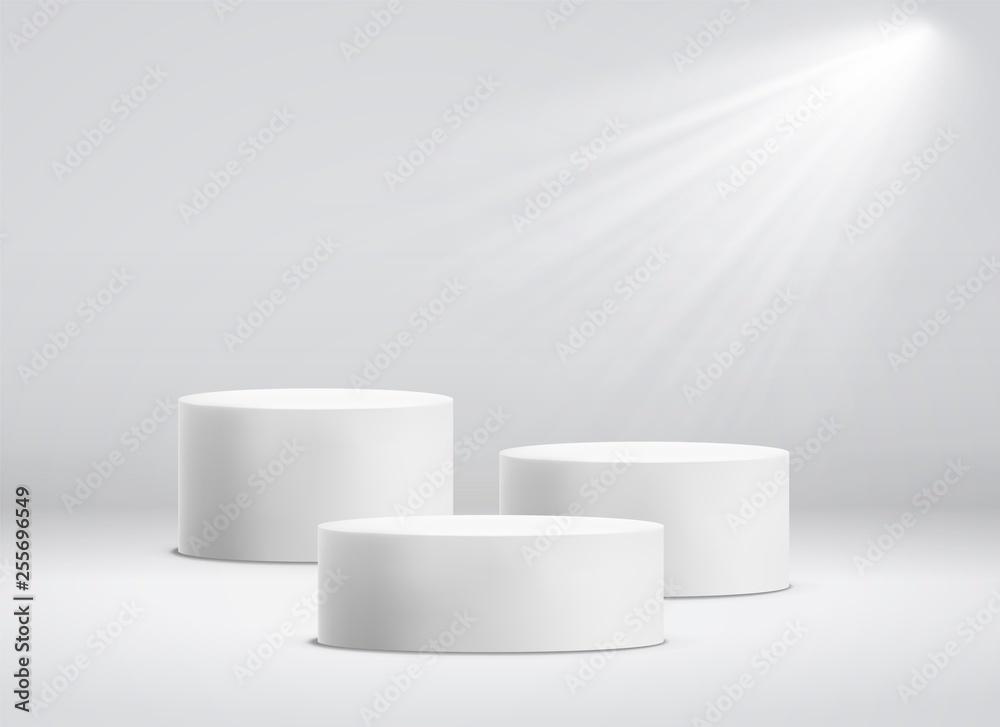 Fototapeta White cylinder template. 3d base stand podium or studio pedestal round platform showroom vector illustration